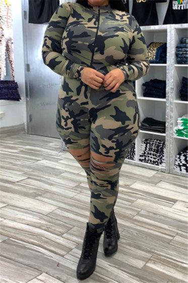 Camo Slim Slashed Jumpsuit