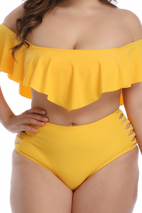 Yellow Ruffled High Waist Bikini