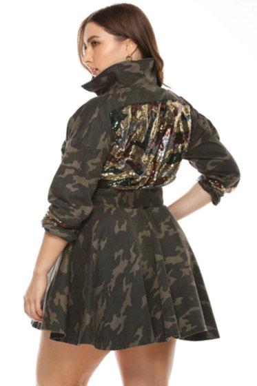 Camo Sequin Belted Jacket