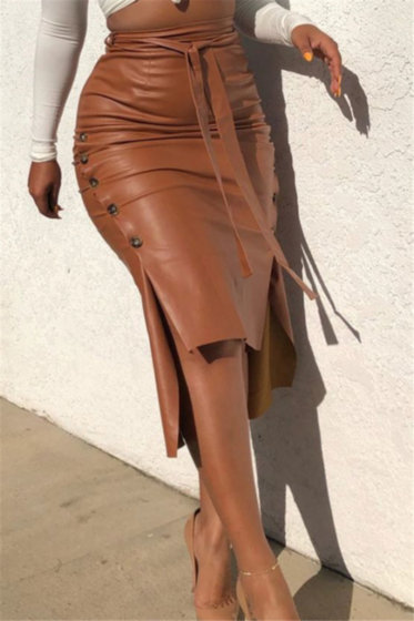 Leather Single Breasted Skirt