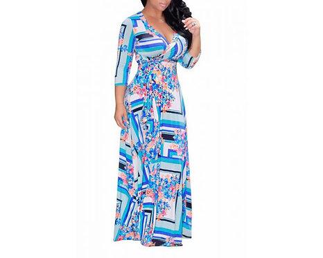 Belted Maxi Multicolor Elegant Dress