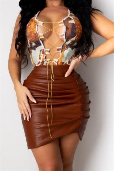Leather Pleated Irregular Skirt