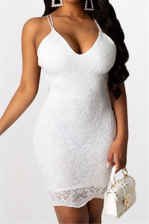 Lace Backless Mini Dress
