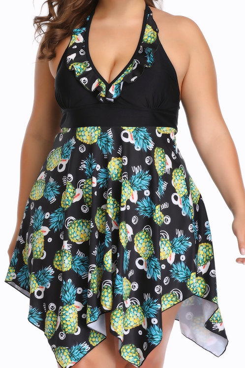 Pineapple Flower 2pc Swim Dress