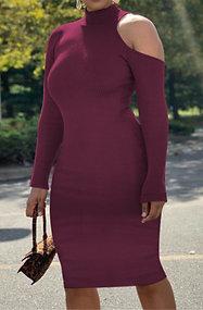 Open Shoulder High Collar Dress