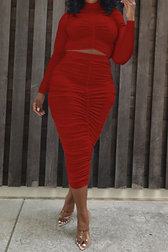 High Collar Pleated Top Long Skirt Set
