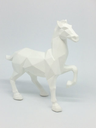 White Cubist Horse