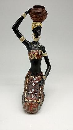 Kneeling African Lady Water Carrier