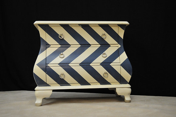 French Bowfront Blue and White Lowboy