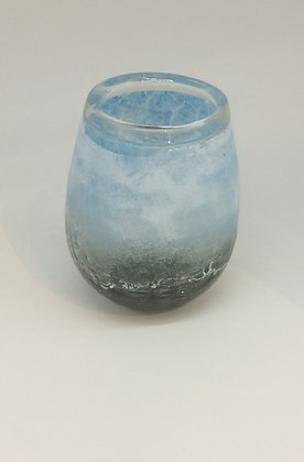 Clear Vase With Light Blue And White Frosting