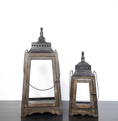 Pair Wood + Metal Lanterns