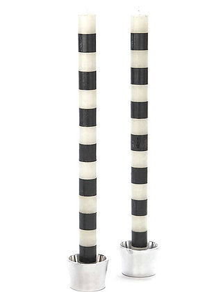 BLACK + WHITE SHORT STRIPE TAPER CANDLE