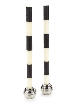 BLACK + WHITE LONG STRIPE TAPER CANDLE