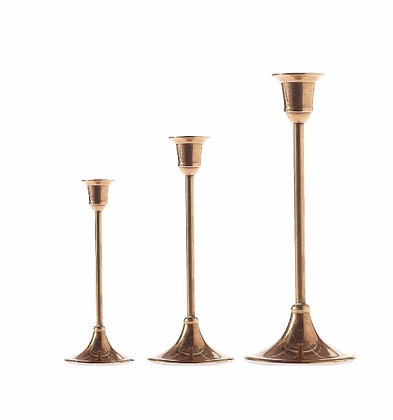 Set/3 Brass Candle Stick Holders