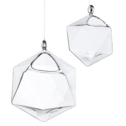 Glass Hanging Geometric Vessels