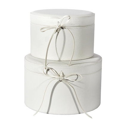 Set/2 White Round Hat Boxes