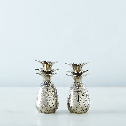 Set/2 Silver Metal Pineapple Shot Glass