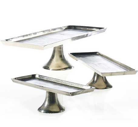 Rectangle Nickel Pedestal Platter Collection