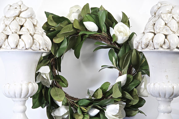 White Magnolia Wreath, Faux