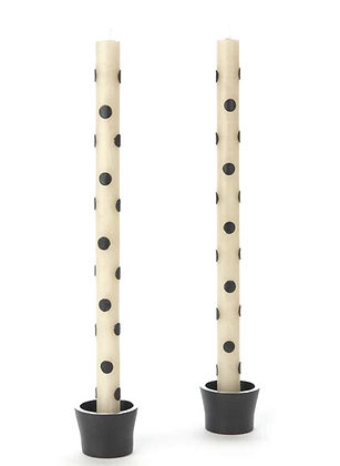 IVORY + BLACK POLKA-DOT TAPER CANDLE