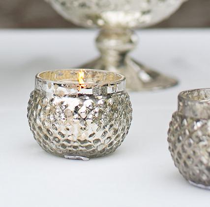 Antiqued Silver Mercury Glass Votive