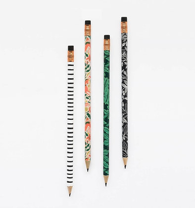 'Folk' Writing Pencils, Set/4 by Rifle Paper Co.