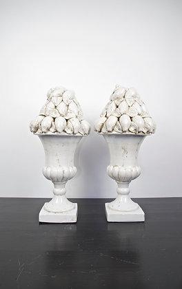 Distressed White Composite Lemon Pedestals