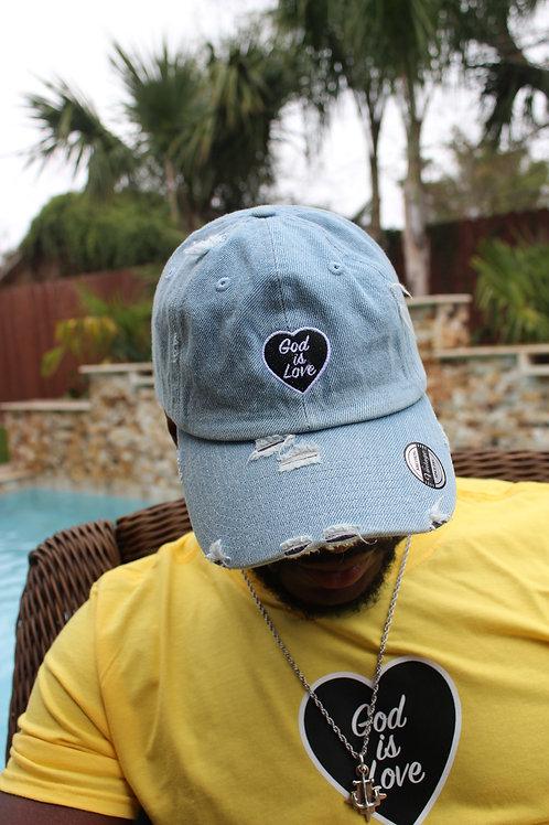 Stonewash Jean God is Love Dad Hat