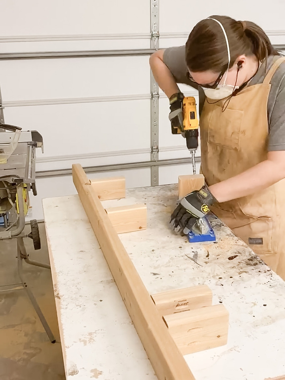use a Kreg jig to drill pocket holes for the floating wood mantel