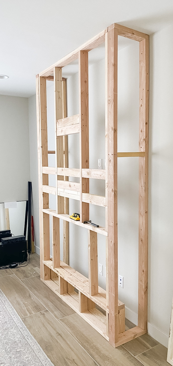 2x4 wood frame structure for an indoor fireplace