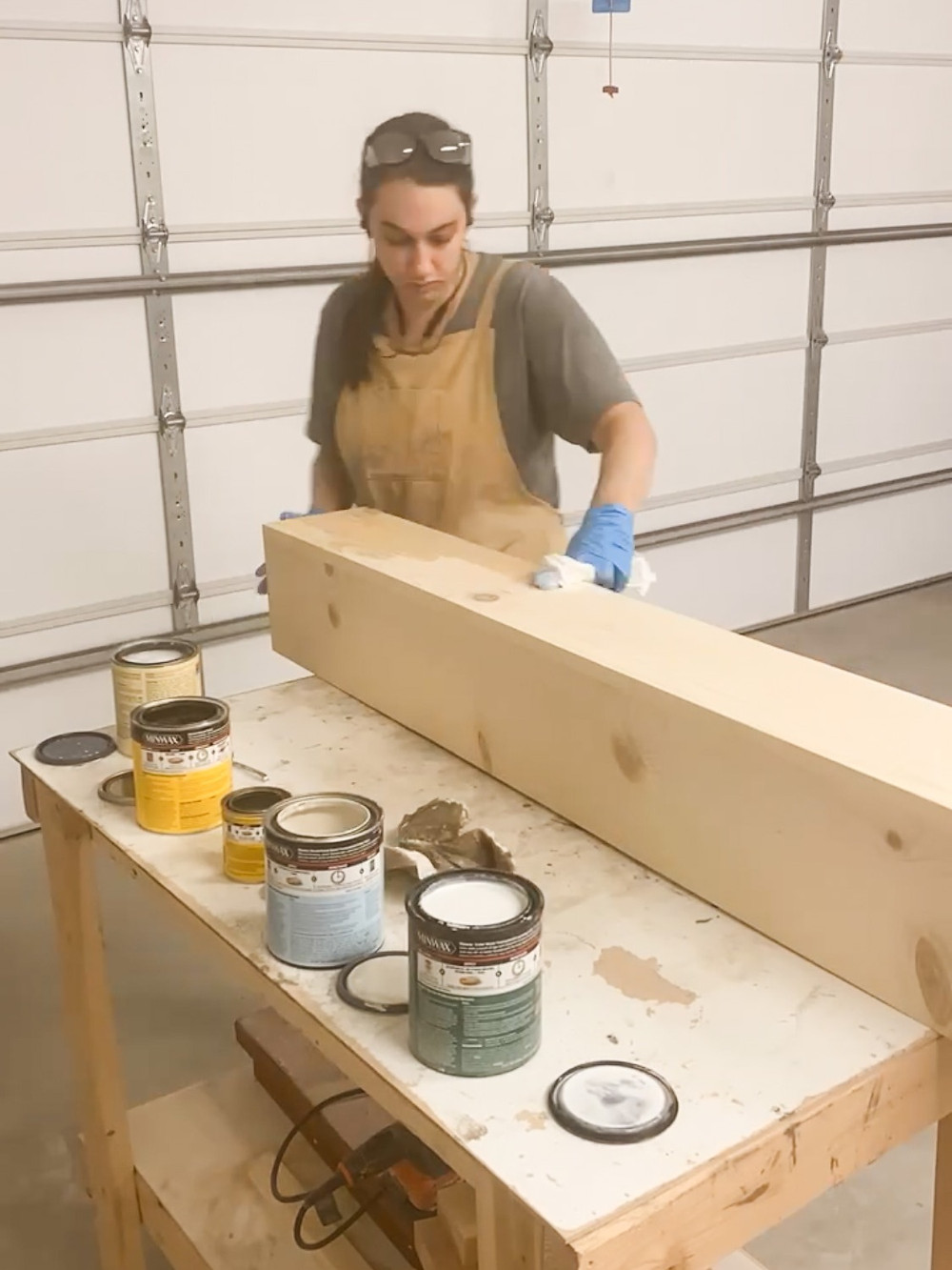 wiping stain on a wood mantel