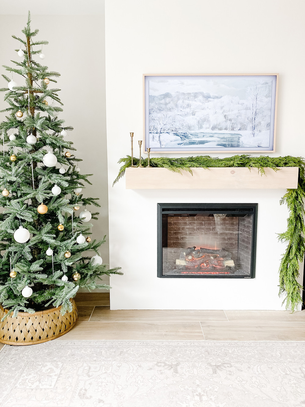 Finished DIY Fireplace with Electric Insert decorated for Christmas with holiday garland