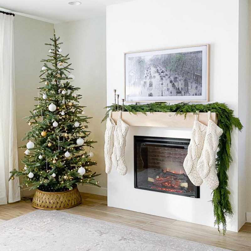 DIY Fireplace build with electric insert decorated for Christmas