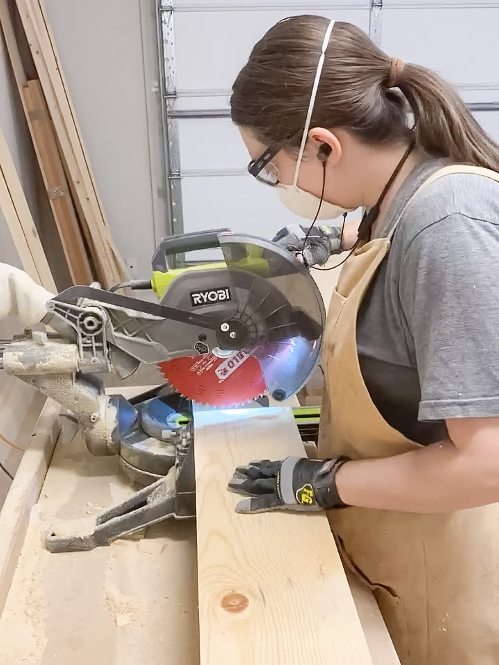 use a miter saw to cut boards to length