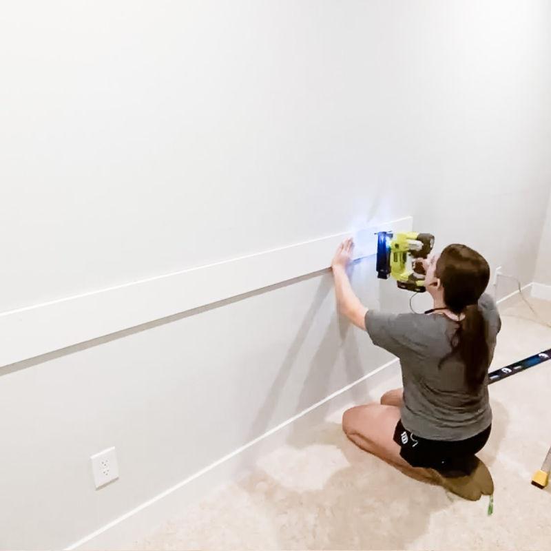 DIY installing trim to accent wall using a nail gun