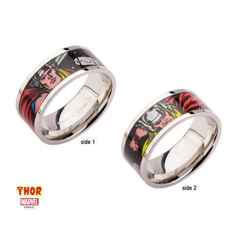Marvel Stainless Steel Thor Comic Strip Ring Kelleigh Jewelry