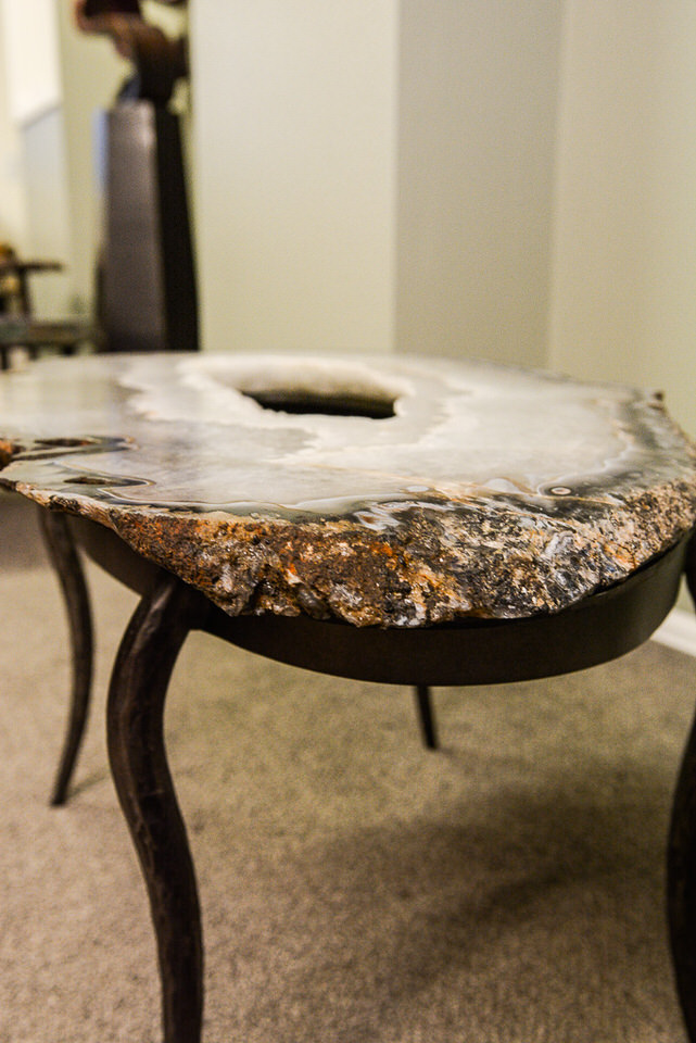 Agate Geode & Steel Base Table