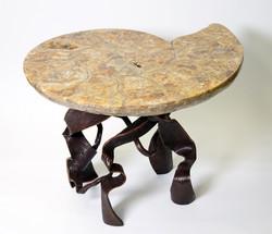 Ammonite Fossil Table & Steel Base