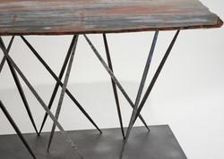 Petrified Wood & Steel Table