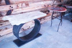 Selenite & Steel Base Table
