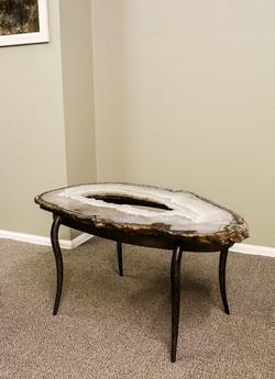 Agate Geode & Steel Base Table