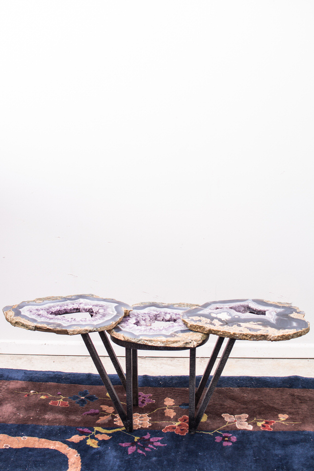 Amethyst Geode& Steel Table