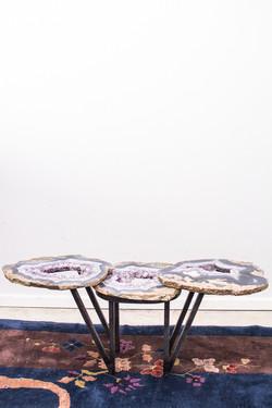 Amethyst Geode& Steel Table