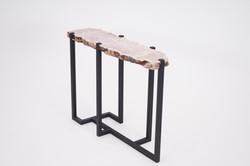 Rose Quartz Crystal & Steel Table