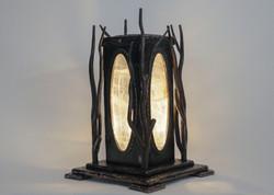 Forged Steel & Selenite Lamp