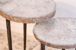Agate Slice & Steel Base Table