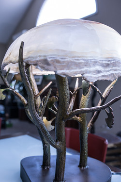 Onyx Lamp with Steel Base