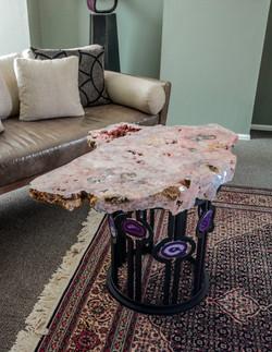 Quartz Crystal & Steel Base Table