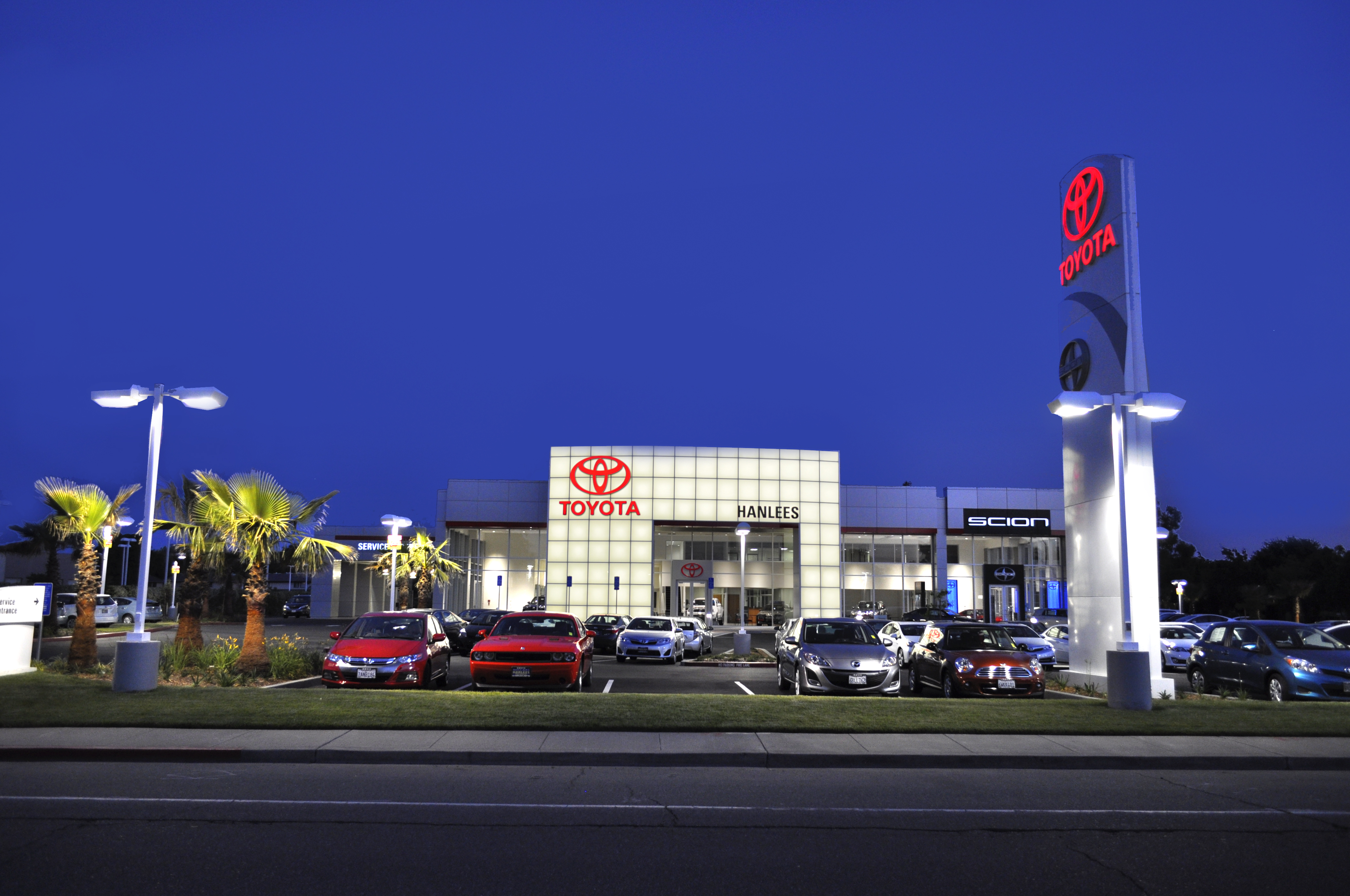 Dealership Exterior, Night