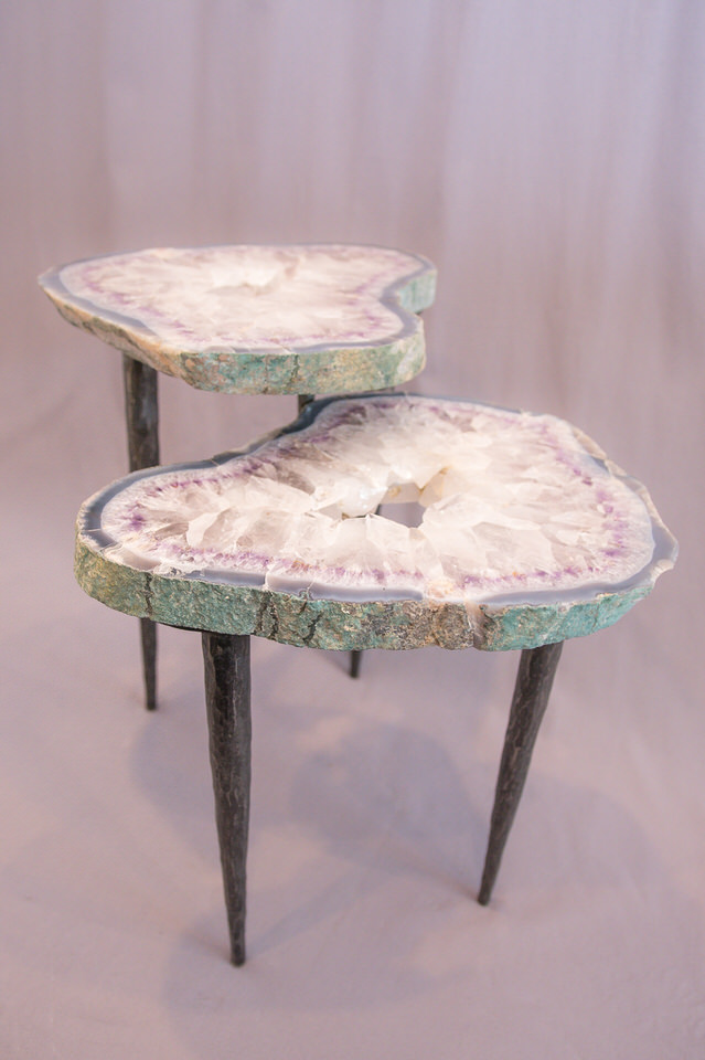 Amethyst Geode & Steel Base Table